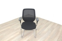 Orangebox Joy Black Fabric Seat / Black Mesh Back Cantilever Office Meeting Chairs - Thumb 3