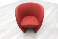 Red Fabric Office Reception Tub Chairs - Thumb 3