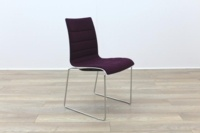 Brunner White Back Burgundy Fabric Seat Chrome Legs Meeting Chair - Thumb 5