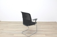 Orangebox Joy Black Fabric Seat / Black Mesh Back Cantilever Office Meeting Chairs - Thumb 7