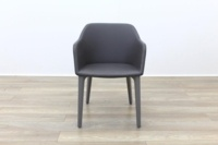 Brunner Light Grey Leather Grey Wooden Frame Reception Tub Chair - Thumb 4