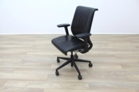 Steelcase Think Black Leather Office Task Chairs - Thumb 4