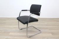 Black Faux Leather Meeting Chair - Thumb 3