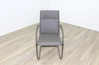 Brunner Grey Leather Cantilever Meeting Chair - Thumb 2