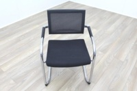 Black Fabric Seat / Charcoal Fleck Back Office Meeting Chairs - Thumb 3