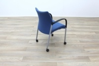 Senator Blue Fabric Stacking Office Meeting Chairs on Castors - Thumb 8