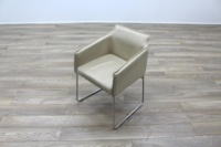 Allermuir Tommo Ivory Leather Chrome Frame Office Meeting / Canteen Chair - Thumb 3