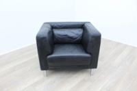 Black Leather Reception Armchair - Thumb 2
