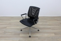 Vitra Meda Black Leather Seat Mesh Back Meeting Chair - Thumb 3