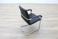 Black Leather Cantilever Office Meeting Chair - Thumb 7