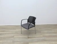 Boss Stacking Meeting Chairs Black Back And Grey Seat - Thumb 3