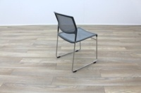 Grey Mesh / Chrome Frame Cantilever Office Canteen / Meeting Chairs - Thumb 7