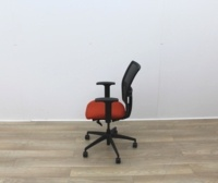 Mesh Back and Red Fabric Seat Operator Chair - Thumb 5