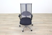 HAG H09 Inspiration Black Fabric Polished Aluminium Executive Office Task Chair - Thumb 4