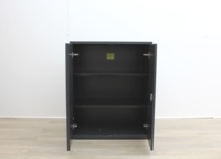 Black Metal 2 Door Cupboards With Two Shelves - Thumb 4