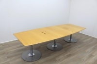 Golden Maple Veneer Barrel Shape Meeting Table - Thumb 3