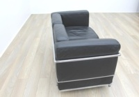 Black Leather Le Corbusier Style 2 Seater Office Reception Sofa - Thumb 5