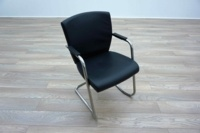 Pledge Black Leather Cantilever Office Meeting Chairs - Thumb 2