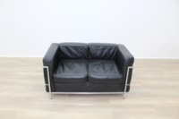 Black Leather Le Corbusier Style 2 Seater Office Reception Sofa - Thumb 2
