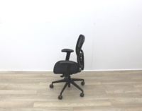 Black Mesh Back Black Fabric Seat Operator Chair - Thumb 5