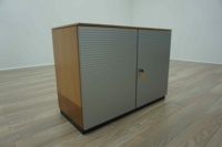 Bene AL Walnut / Silver Double Door Executive Office Storage Cupboards - Thumb 5