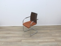 Walnut With Fabric Seat Meeting Chairs - Thumb 2