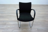 Herman Miller Cantilever Black Fleck Fabric Office Meeting Chairs - Thumb 3
