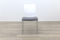 Brunner Blue and White Back with Grey Leather Seat Meeting Chair - Thumb 4