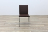 Brunner Brown Leather Chrome Base Meeting Chair - Thumb 4