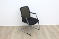 Black Seat/Dark Green Back Meeting Chair With Chrome Legs - Thumb 3