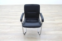 Black Leather Cantilever Office Meeting Chair - Thumb 4