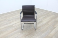 ICF Brown Ribbed Leather Cantilever Office Meeting Chair - Thumb 3