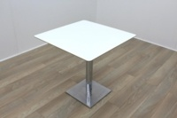Square White Coffee Table Cherry Edge 750mm - Thumb 2