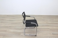 Black Fabric Seat / Charcoal Fleck Back Office Meeting Chairs - Thumb 6