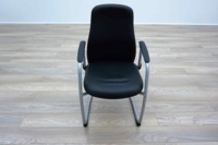 Black Leather Cantilever Office Meeting Chairs - Thumb 3