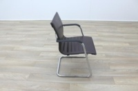 ICF Brown Ribbed Leather Cantilever Office Meeting Chair - Thumb 6