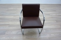 Knoll Studio Brno by Mies Van Der Rohe Brown Leather Executive Office Meeting Chairs - Thumb 3