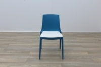 Brunner Blue with White Leather Seat Canteen Chair - Thumb 4