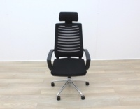 Black Operator Chair With Fabric Seat and Mesh Back - Thumb 3