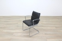Charles Eames Soft Pad Style Black Leather Cantilever Office Meeting Chair - Thumb 5