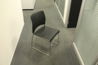 Black Sitag Plastic / Chrome Frame Stacking Office Meeting / Canteen Chairs - Thumb 3