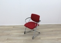 Red Fabric Meeting Chairs With Grey Frame - Thumb 3