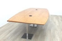 Solid Cherry Barrel Shape Office Meeting Table - Thumb 3