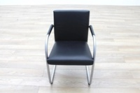 Vitra Visasoft Black Leather Cantilever Office Meeting Chairs - Thumb 4