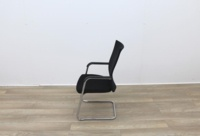 Black Stacking Meeting Chairs With Chrome Frame - Thumb 5