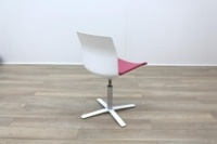 Dynamobel White Back Pink Fabric Seat Meeting Chair - Thumb 7