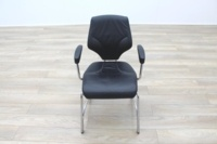 Giroflex 16 Series Black Leather Cantilever Office Meeting Chairs - Thumb 4