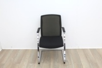 Black Seat/Dark Green Back Meeting Chair With Chrome Legs - Thumb 2
