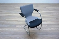 OrangeBox X10 Grey Fabric / Leather Cantilever Office Meeting Chairs - Thumb 3