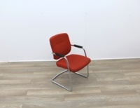 Orange Meeting Chairs With Chrome Frame - Thumb 2